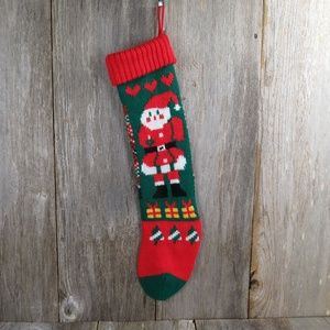 Vintage Santa Claus Stocking Knitted Knit Hearts